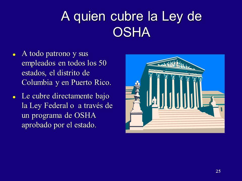 A quien cubre la Ley de OSHA
