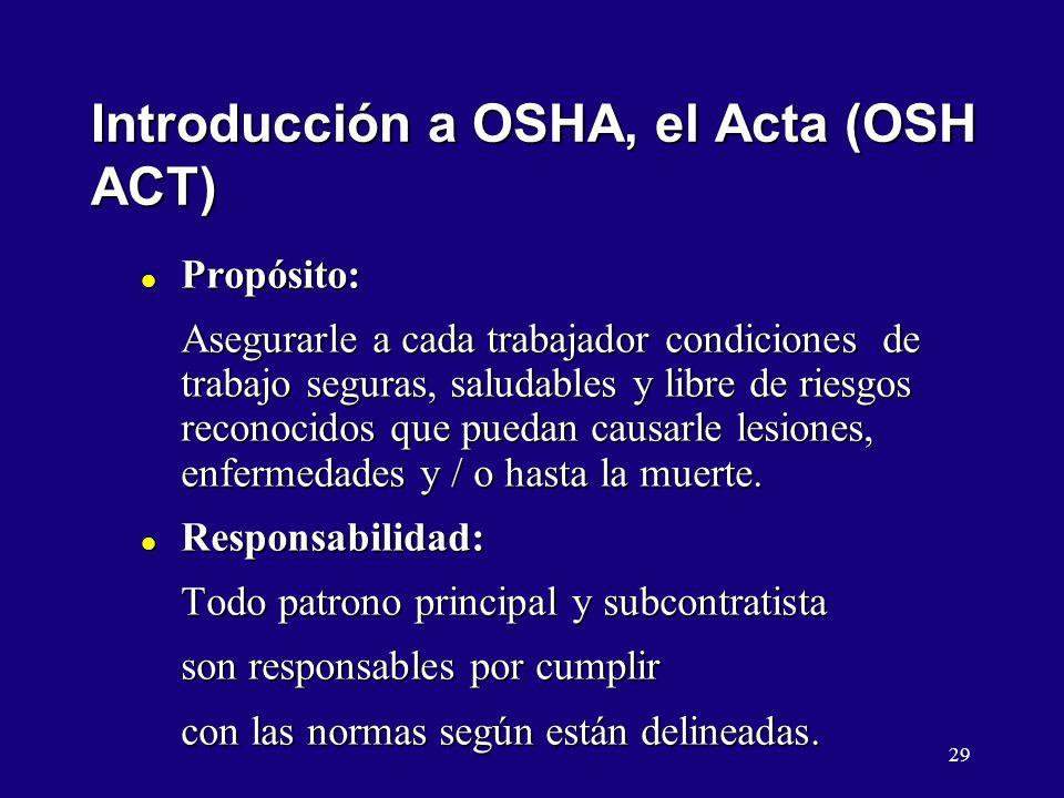 Introducción a OSHA, el Acta (OSH ACT)