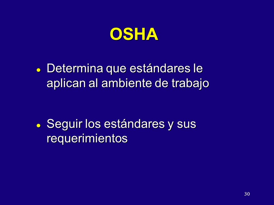 OSHA Determina que estándares le aplican al ambiente de trabajo