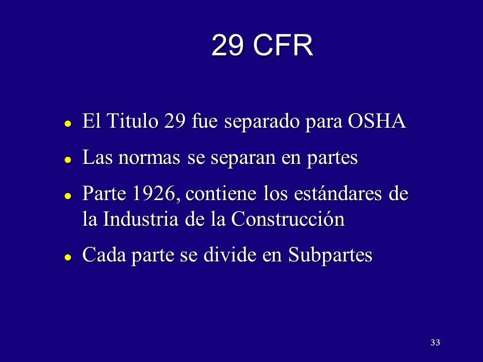 29 CFR El Titulo 29 fue separado para OSHA