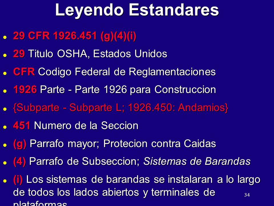 Leyendo Estandares 29 CFR 1926.451 (g)(4)(i)