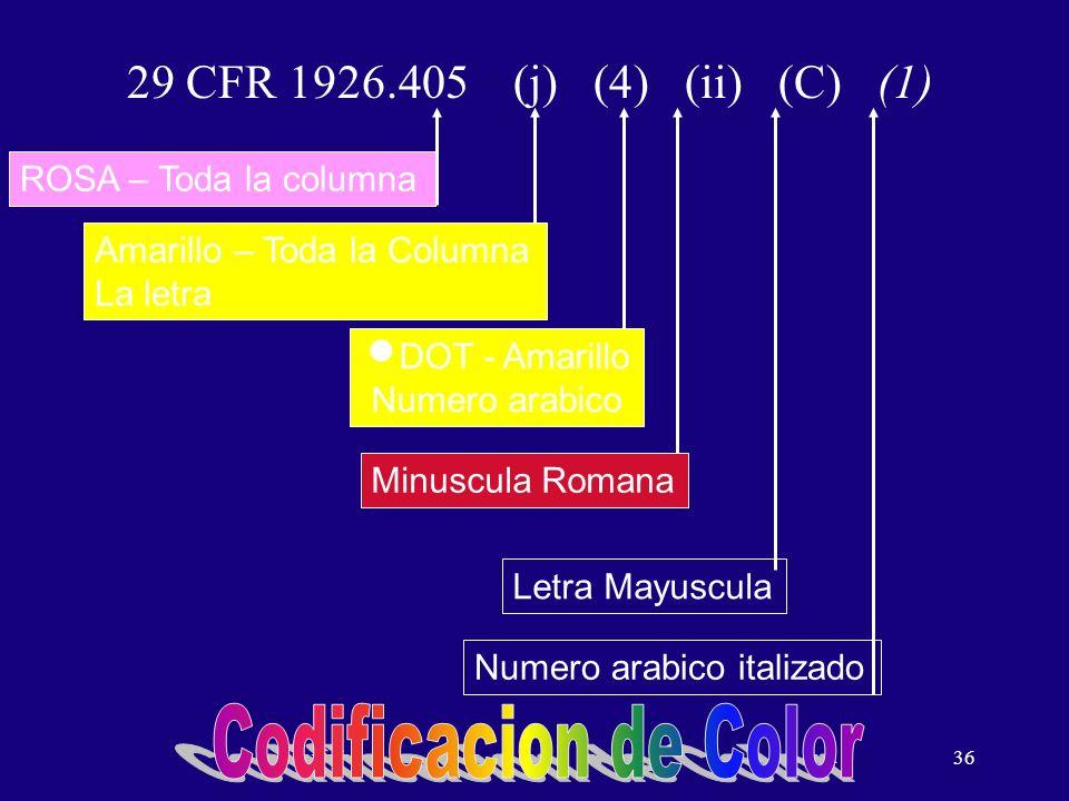 Codificacion de Color 29 CFR 1926.405 (j) (4) (ii) (C) (1)