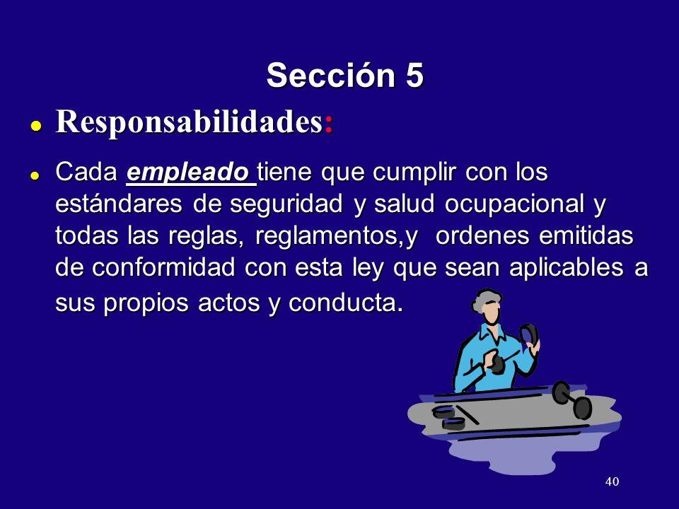 Sección 5 Responsabilidades:
