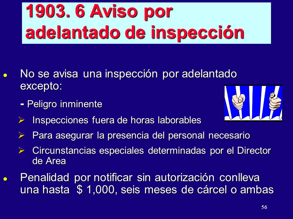 1903. 6 Aviso por adelantado de inspección