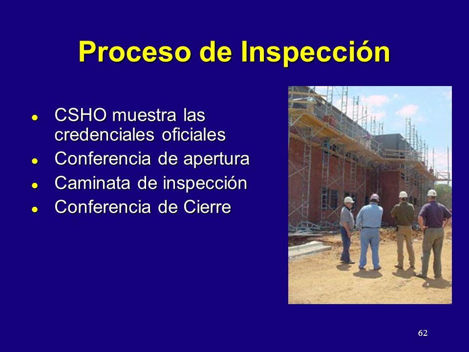 Proceso de Inspección CSHO muestra las credenciales oficiales