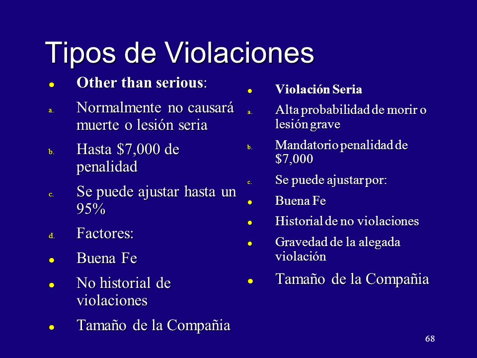 Tipos de Violaciones Other than serious:
