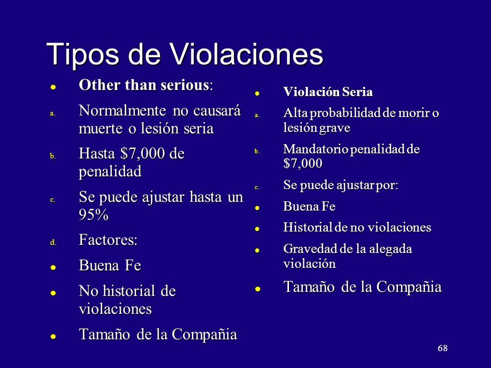 Tipos de Violaciones Other than serious: