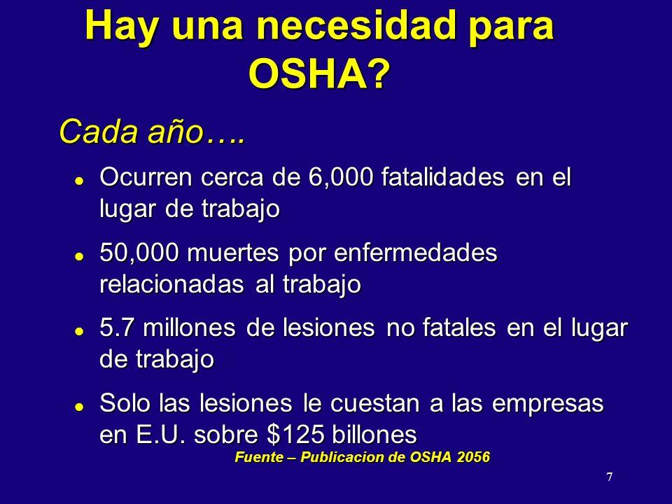 Hay una necesidad para OSHA
