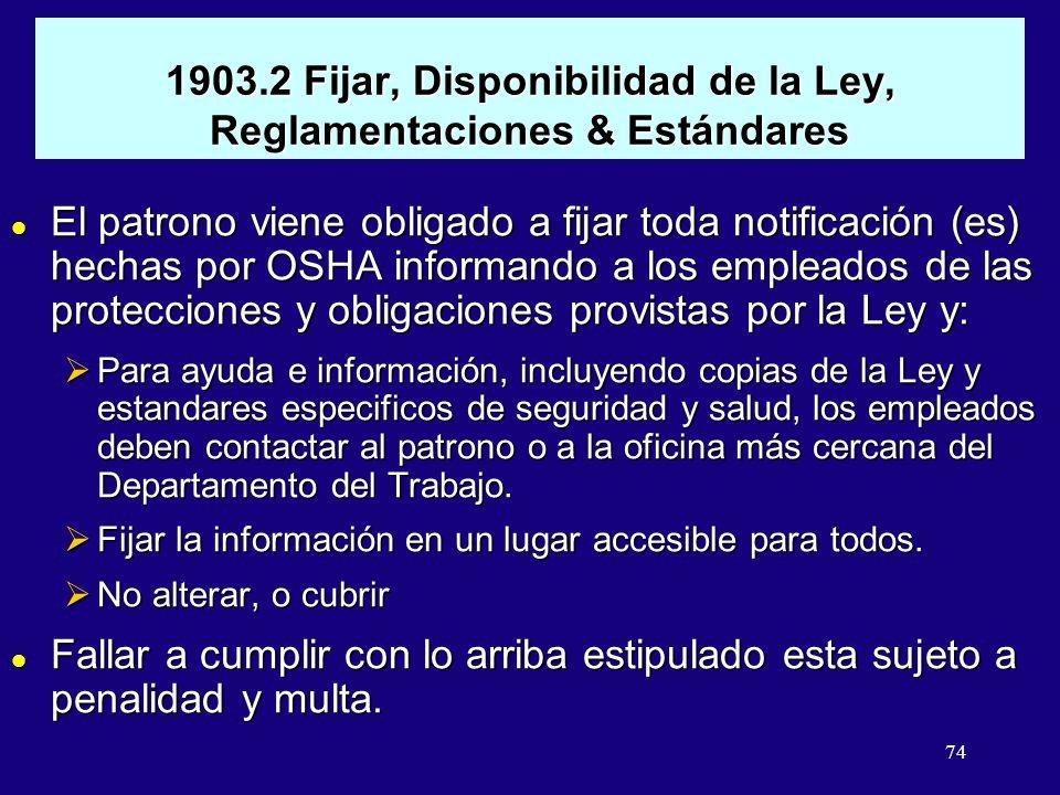 1903.2 Fijar, Disponibilidad de la Ley, Reglamentaciones & Estándares