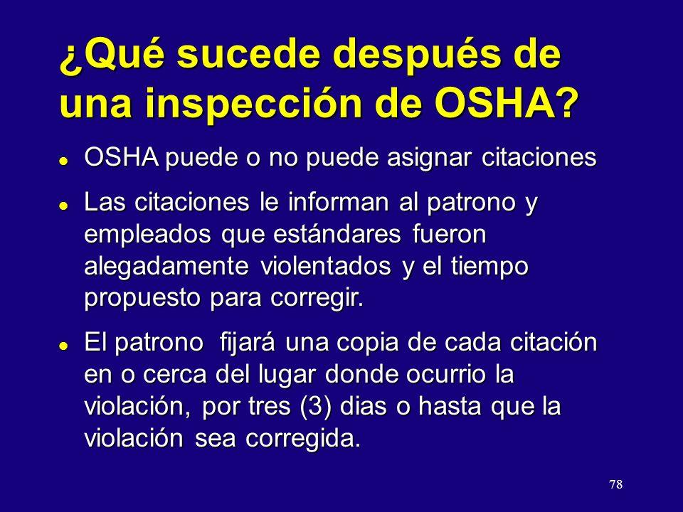 ¿Qué sucede después de una inspección de OSHA