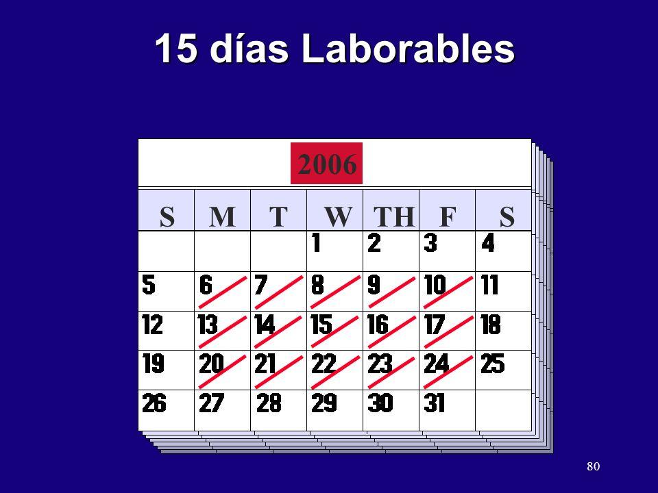 15 días Laborables 2006 S M T W TH F S