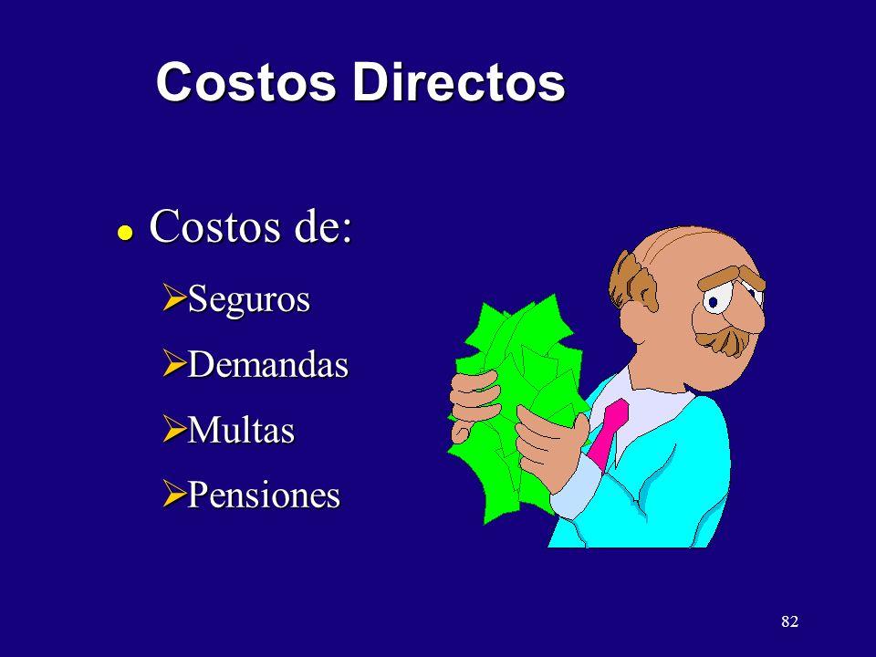 Costos Directos Costos de: Seguros Demandas Multas Pensiones