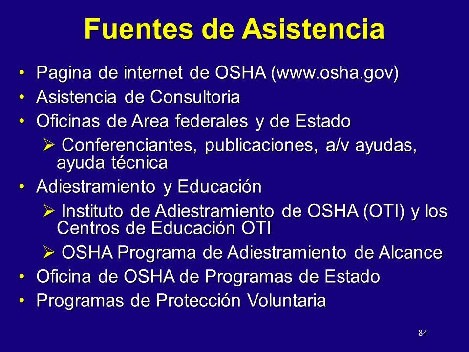 Fuentes de Asistencia Pagina de internet de OSHA (www.osha.gov)