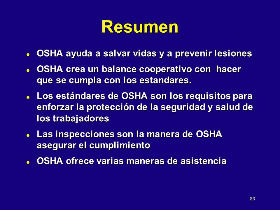 Resumen OSHA ayuda a salvar vidas y a prevenir lesiones