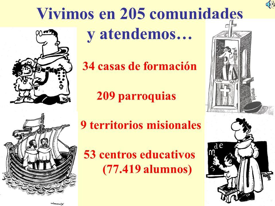 Vivimos en 205 comunidades 9 territorios misionales