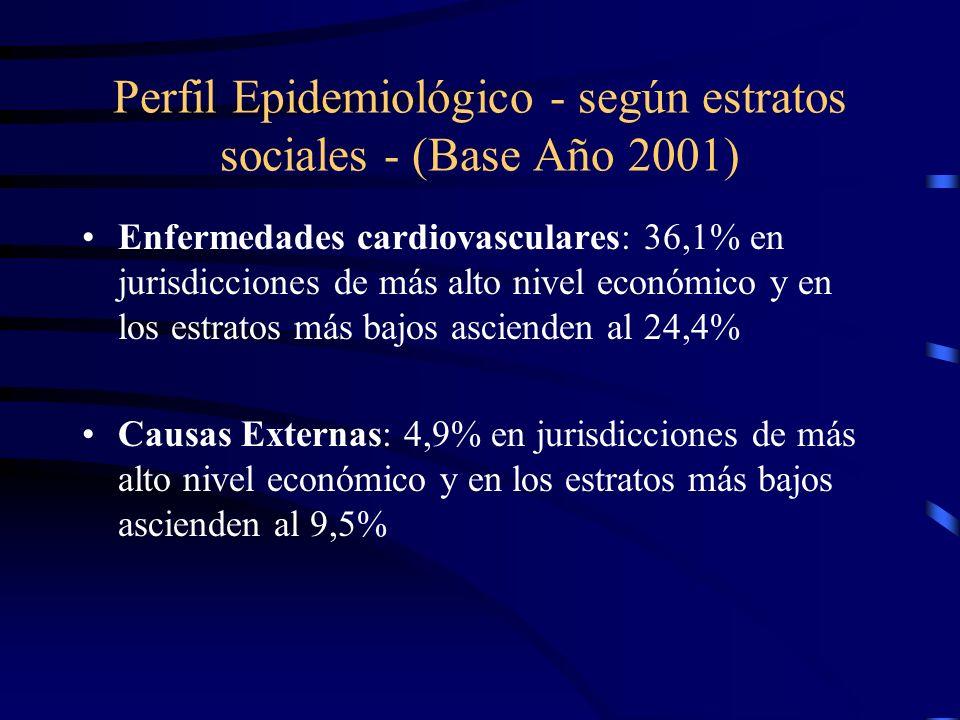 Perfil Epidemiológico - según estratos sociales - (Base Año 2001)