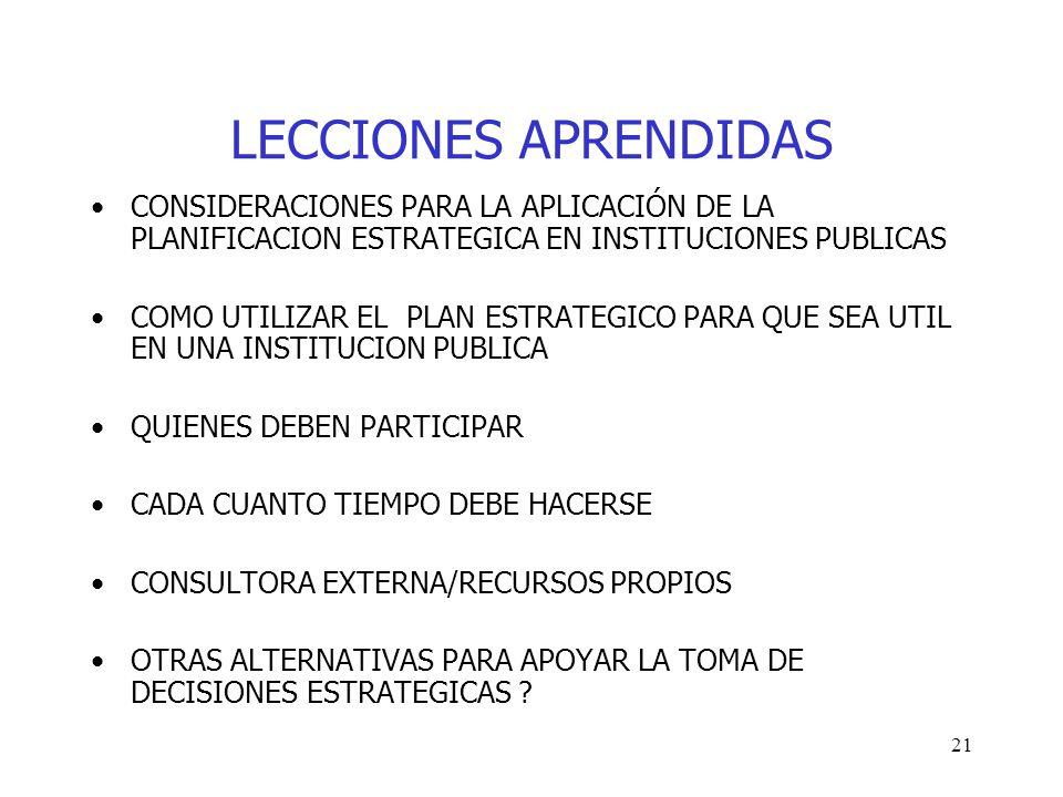LECCIONES APRENDIDAS CONSIDERACIONES PARA LA APLICACIÓN DE LA PLANIFICACION ESTRATEGICA EN INSTITUCIONES PUBLICAS.