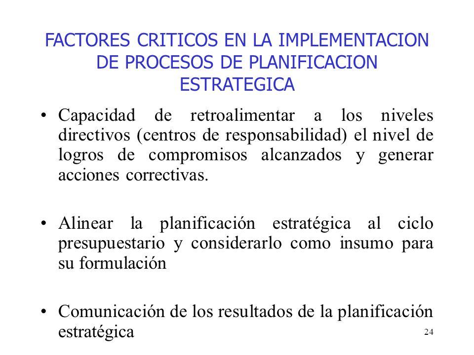 FACTORES CRITICOS EN LA IMPLEMENTACION DE PROCESOS DE PLANIFICACION ESTRATEGICA