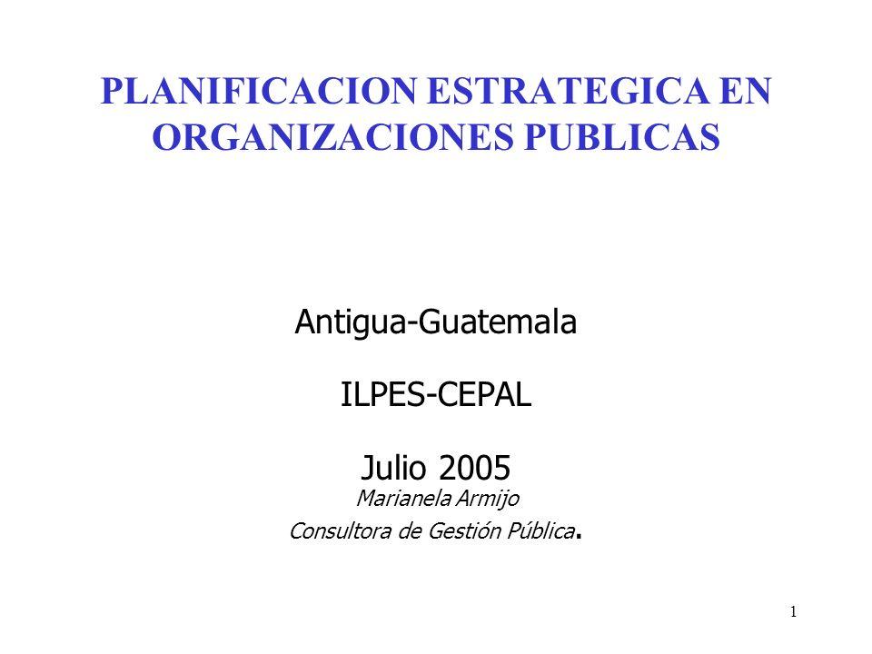 PLANIFICACION ESTRATEGICA EN ORGANIZACIONES PUBLICAS