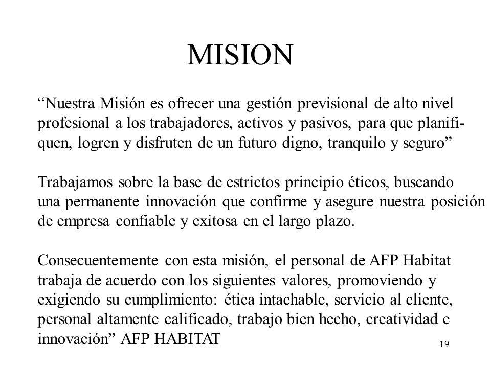 MISION Nuestra Misión es ofrecer una gestión previsional de alto nivel. profesional a los trabajadores, activos y pasivos, para que planifi-