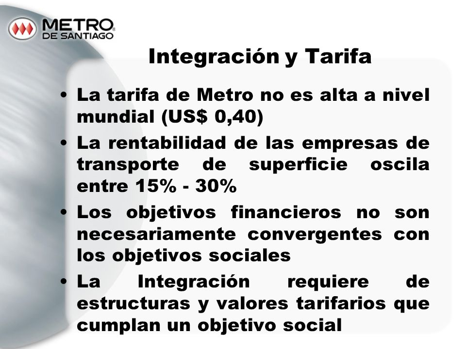 Integración y TarifaLa tarifa de Metro no es alta a nivel mundial (US$ 0,40)