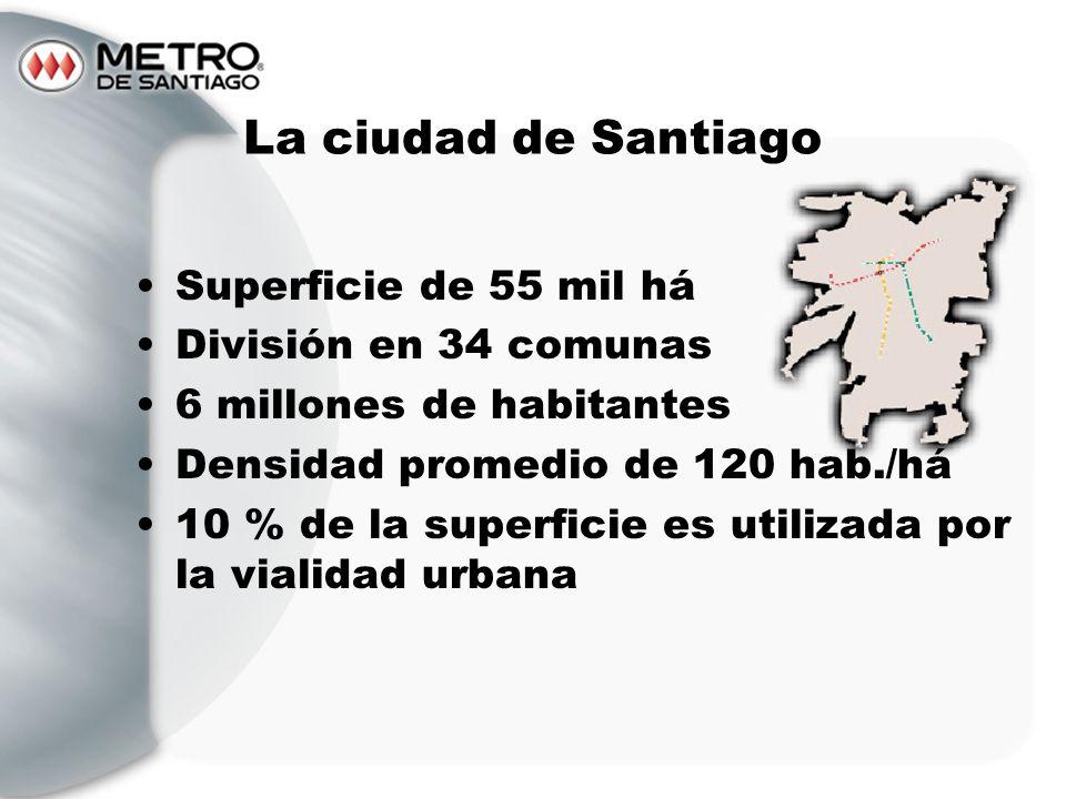 La ciudad de Santiago Superficie de 55 mil há División en 34 comunas