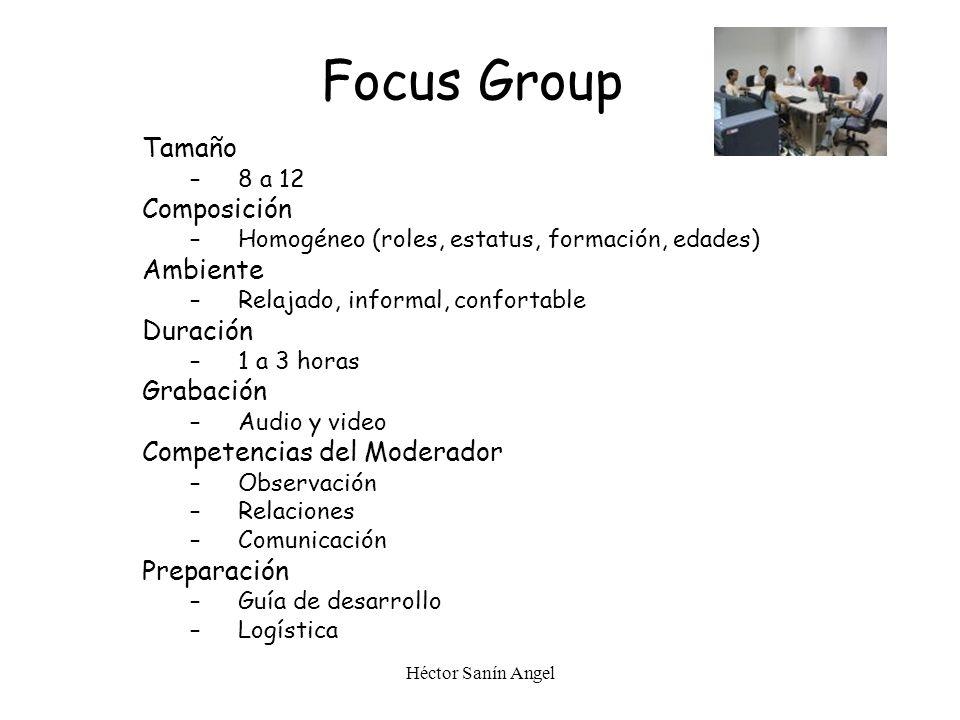 Focus Group Tamaño Composición Ambiente Duración Grabación