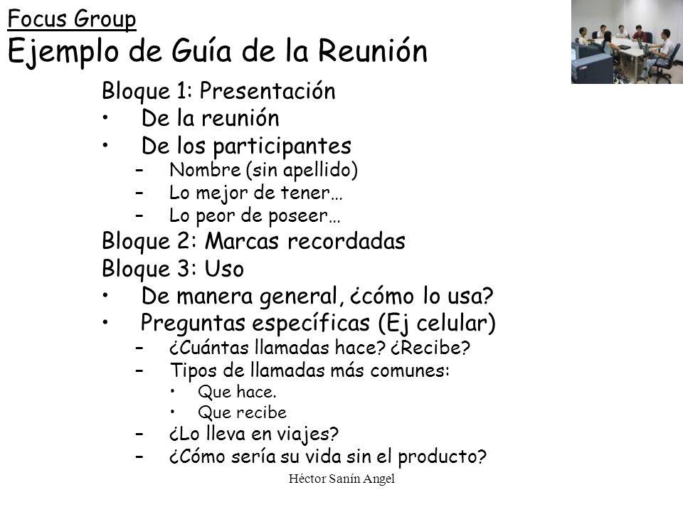 Focus Group Ejemplo de Guía de la Reunión