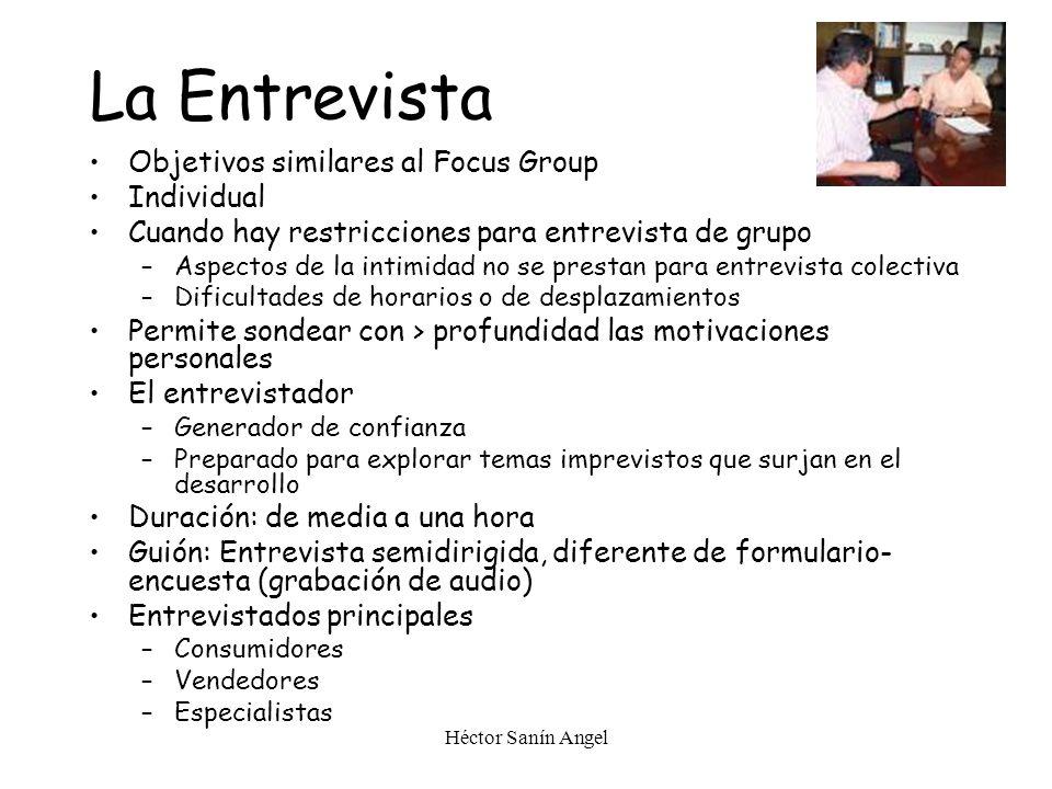 La Entrevista Objetivos similares al Focus Group Individual