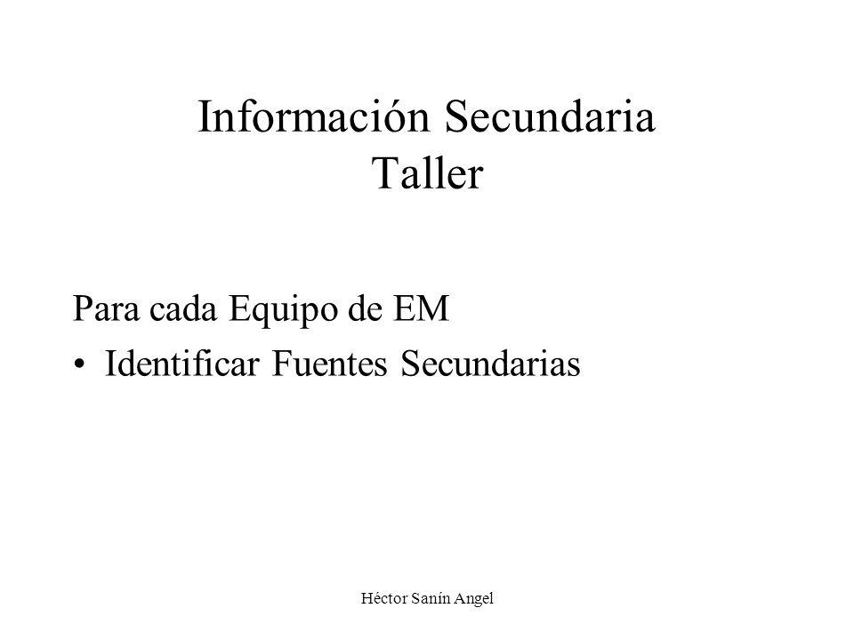 Información Secundaria Taller