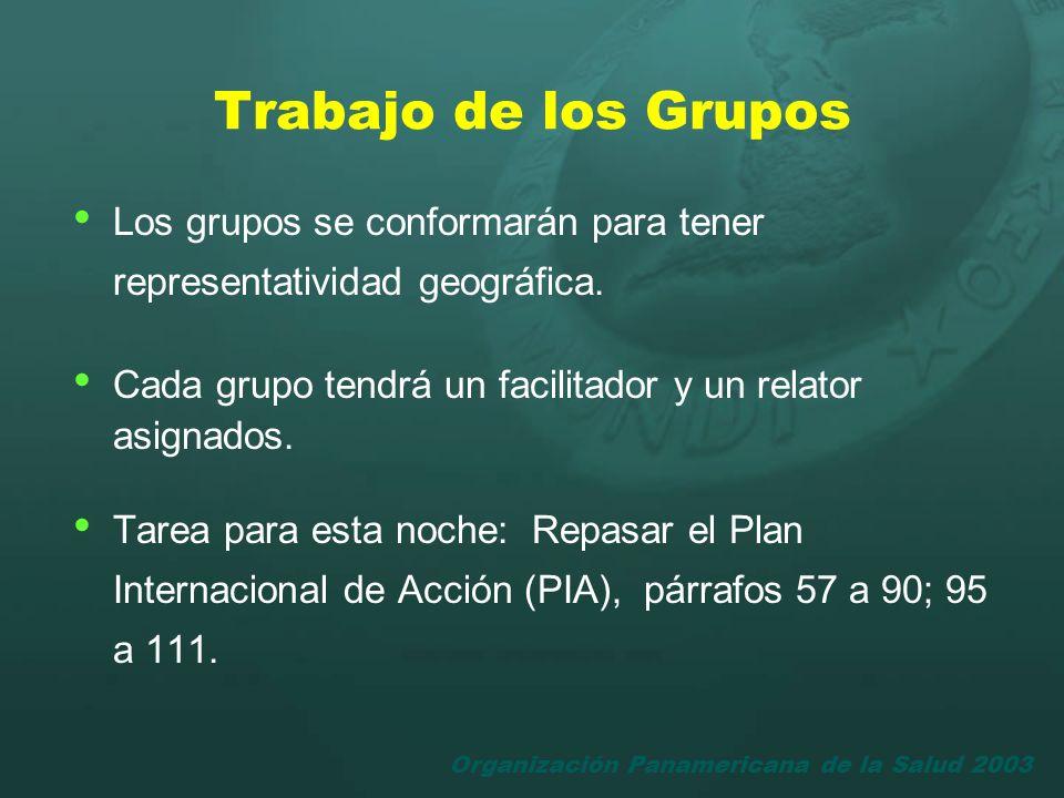 Trabajo de los Grupos Los grupos se conformarán para tener representatividad geográfica. Cada grupo tendrá un facilitador y un relator asignados.
