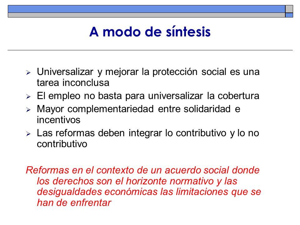 A modo de síntesis Universalizar y mejorar la protección social es una tarea inconclusa. El empleo no basta para universalizar la cobertura.