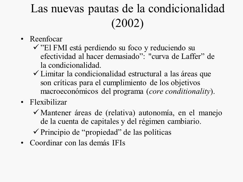 Las nuevas pautas de la condicionalidad (2002)