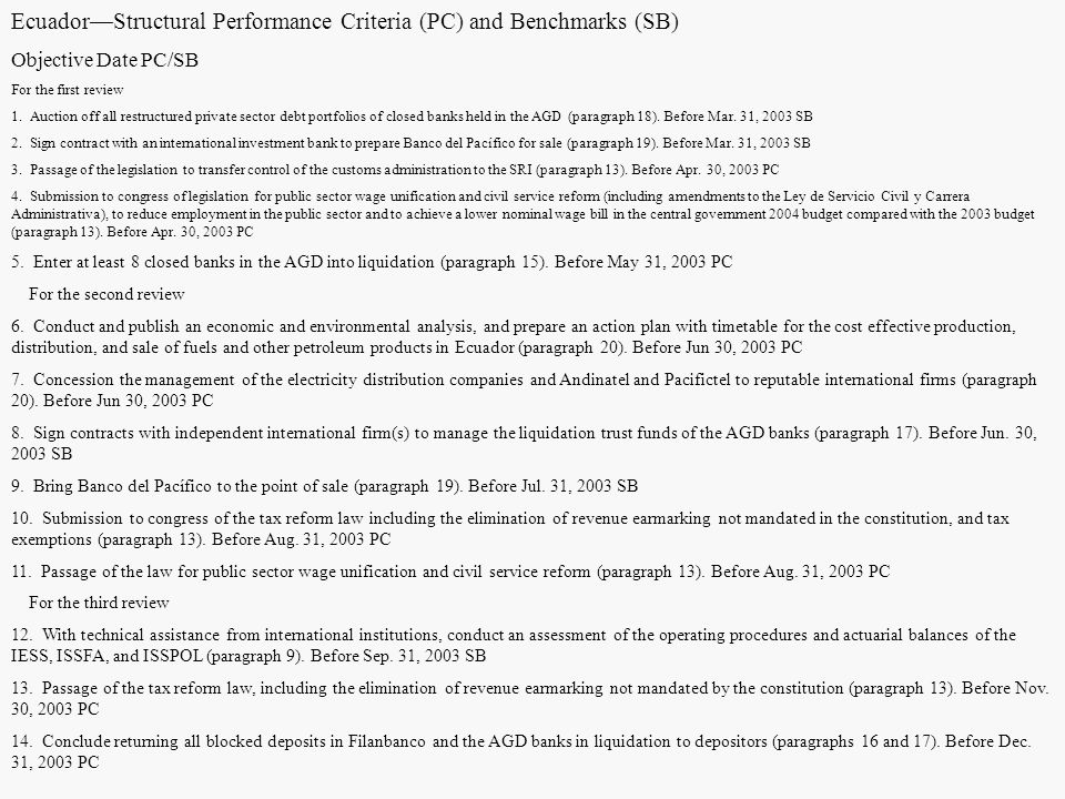 Ecuador—Structural Performance Criteria (PC) and Benchmarks (SB)