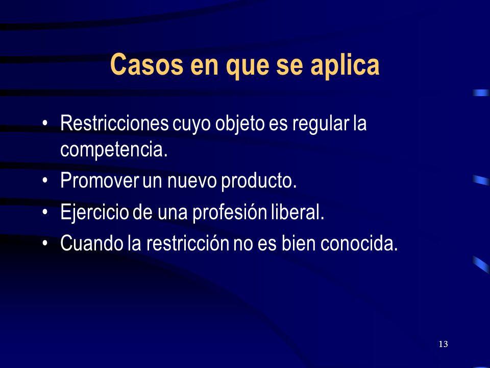 Casos en que se aplica Restricciones cuyo objeto es regular la competencia. Promover un nuevo producto.