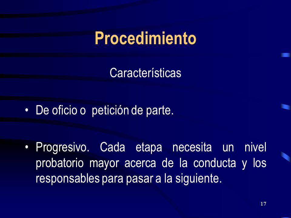 Procedimiento Características De oficio o petición de parte.
