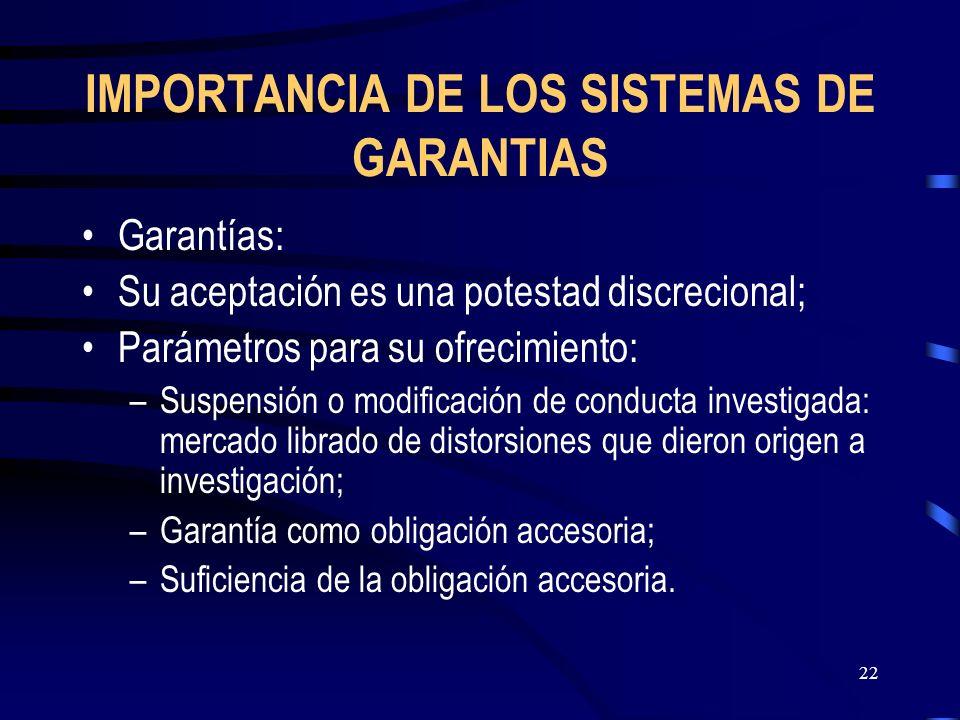 IMPORTANCIA DE LOS SISTEMAS DE GARANTIAS