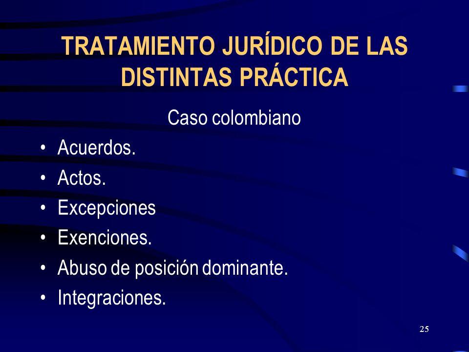 TRATAMIENTO JURÍDICO DE LAS DISTINTAS PRÁCTICA