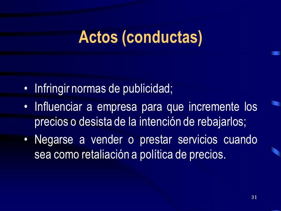 Actos (conductas) Infringir normas de publicidad;