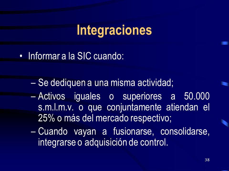 Integraciones Informar a la SIC cuando: