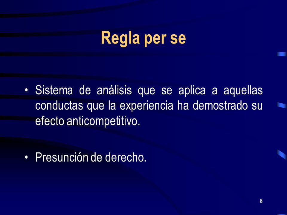 Regla per se Sistema de análisis que se aplica a aquellas conductas que la experiencia ha demostrado su efecto anticompetitivo.