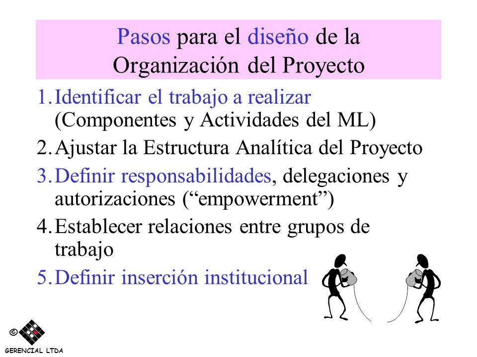 Pasos para el diseño de la Organización del Proyecto