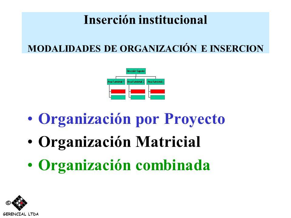 Inserción institucional MODALIDADES DE ORGANIZACIÓN E INSERCION