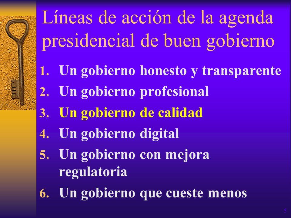 Líneas de acción de la agenda presidencial de buen gobierno