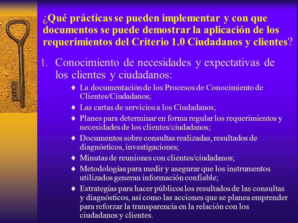 ¿Qué prácticas se pueden implementar y con que documentos se puede demostrar la aplicación de los requerimientos del Criterio 1.0 Ciudadanos y clientes
