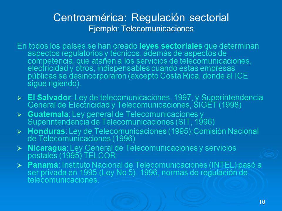 Centroamérica: Regulación sectorial Ejemplo: Telecomunicaciones