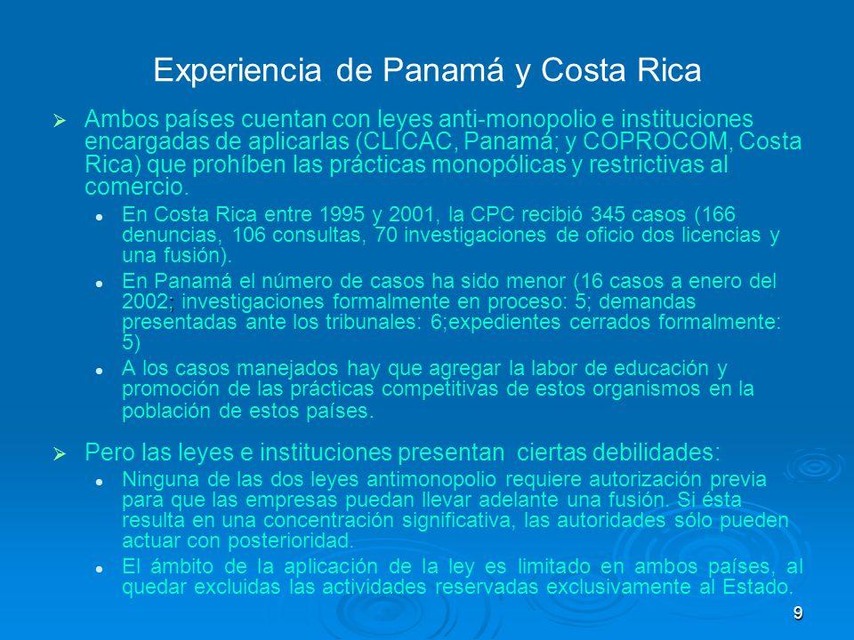 Experiencia de Panamá y Costa Rica