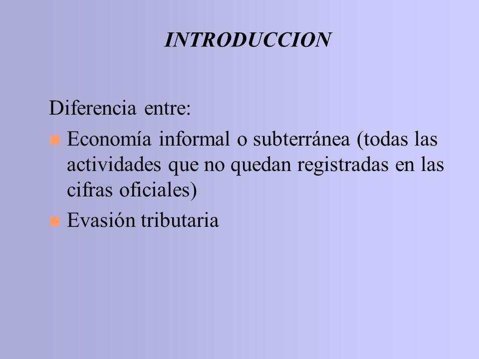 INTRODUCCION Diferencia entre: Economía informal o subterránea (todas las actividades que no quedan registradas en las cifras oficiales)