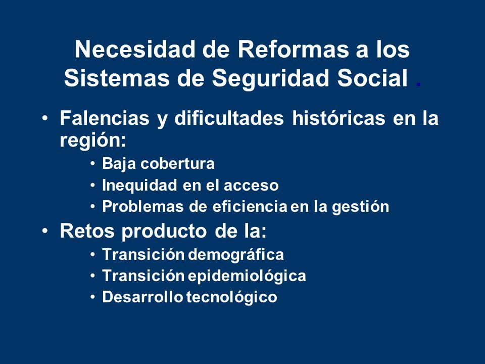 Necesidad de Reformas a los Sistemas de Seguridad Social .