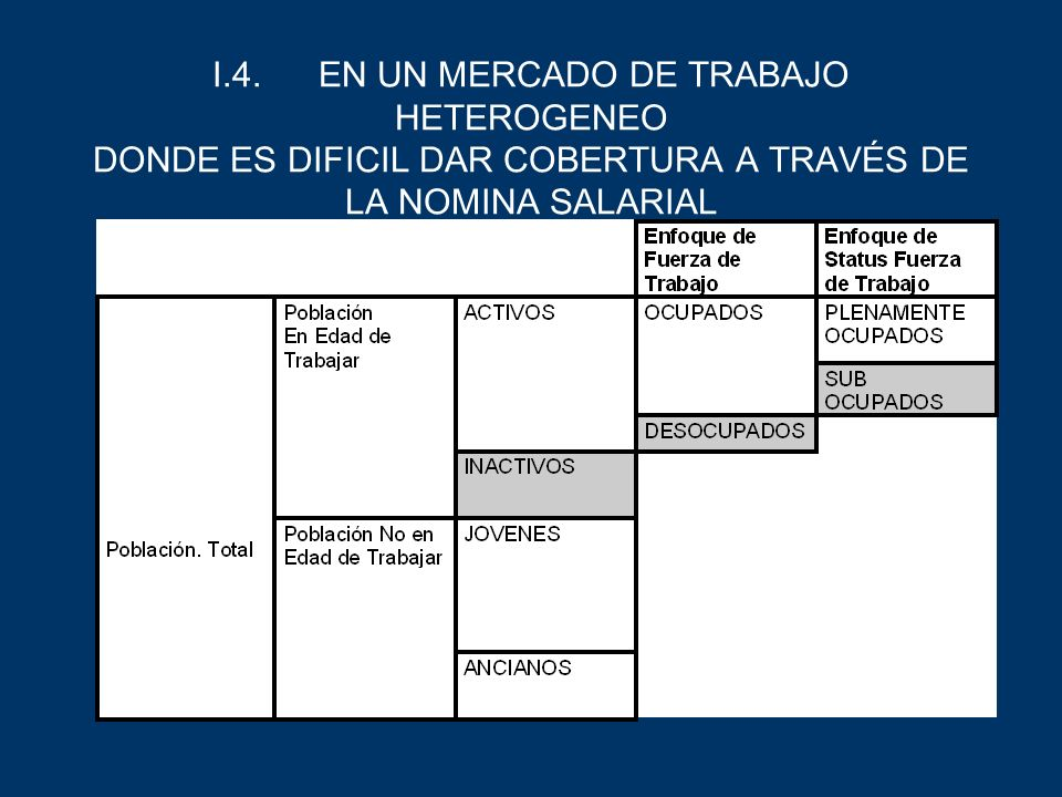 I.4. EN UN MERCADO DE TRABAJO HETEROGENEO DONDE ES DIFICIL DAR COBERTURA A TRAVÉS DE LA NOMINA SALARIAL